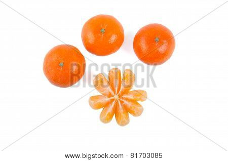 tangerine or mandarin fruit isolated on white background cutout poster