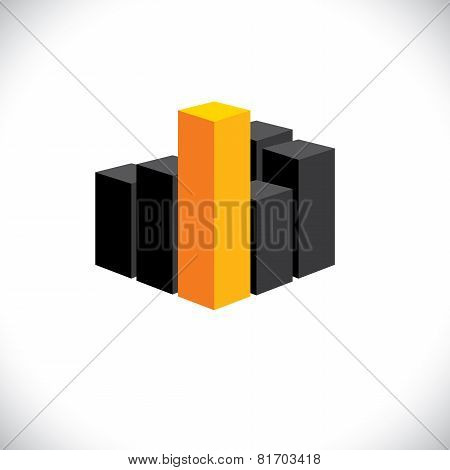 Vector Icon 3D Bar Graph Or City Highrise Buildings