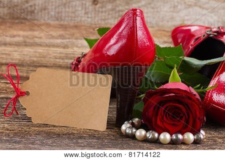 red shoes with rose flower