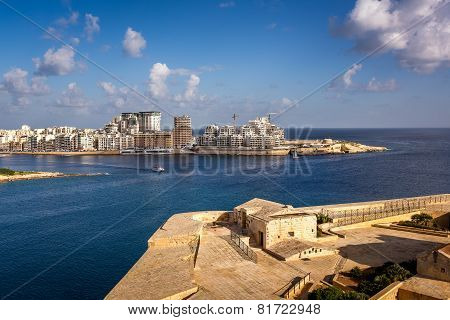 View On Tigne Point And Sliema District From Valletta, Malta