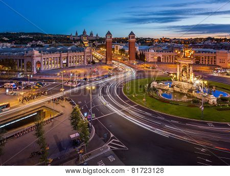 Aerial View on Placa Espanya and Montjuic Hill with National Art Museum of Catalonia Barcelona Spain poster