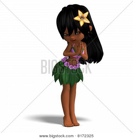 very cute hawaiin cartoon girl is dancing for