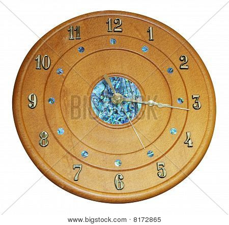 Wooden Clock With Paua Inlay