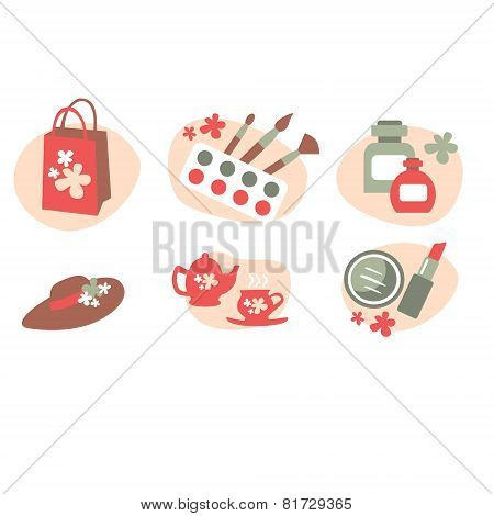 vector color beauty icons on white background