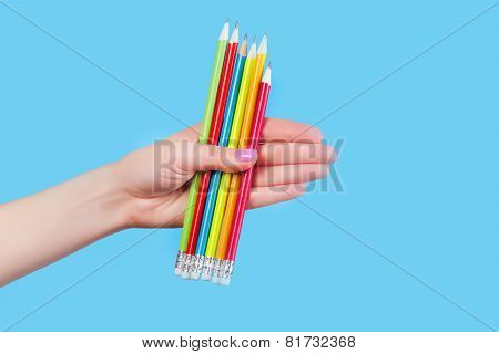 Hand Holding Color Pencils