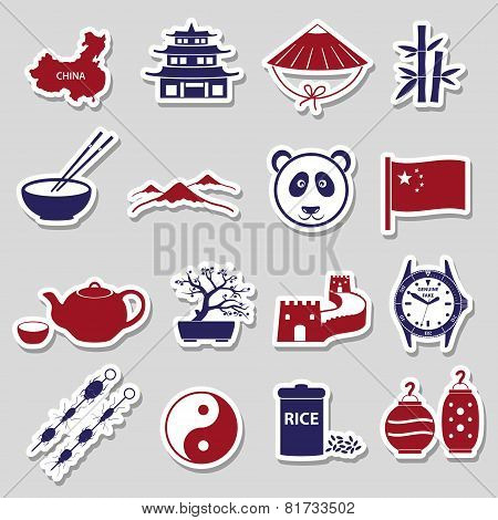 China Theme Color Stickers Vector Set Eps10