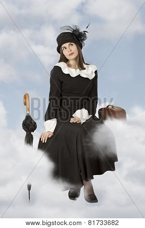 Young Woman Sitting On The Clouds