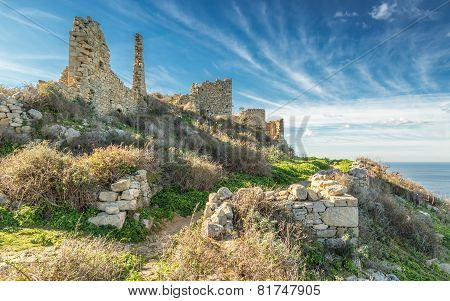 Ruined buildings in the abandoned village of Occi near Lumio in the Balagne region of Corsica poster