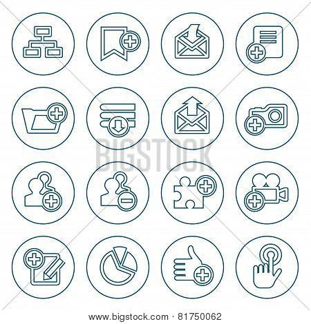 Thin Line Web Icons Set