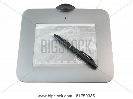Pen Tablet On White Background.