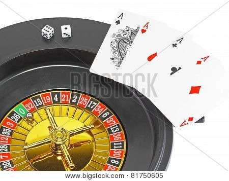 Four aces and dice on white background. Isolated poster