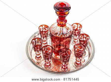 Czech Bohemian Cordial Glasses Set