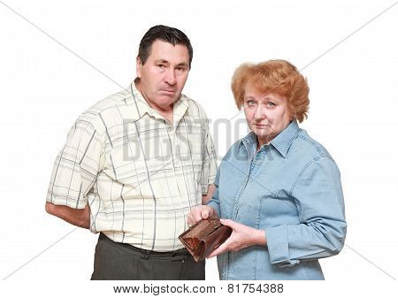Pensioners with regret face. In hadns-empty wallet. Isolated poster