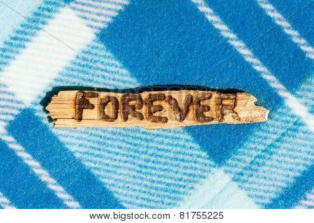 Forever - Burned Word On Wooden Sliver. Blue Checkered Background.