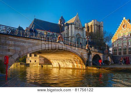 St. Michael Bridge and church at sunrise in Ghent, Belgium