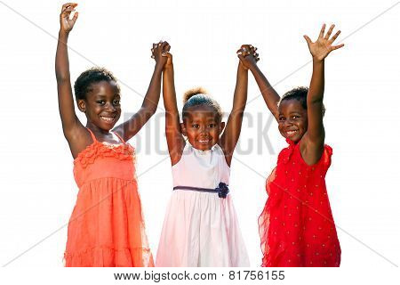 Three African Kids Joining Hands In Air.