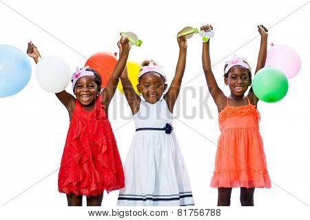 Threesome African Girls Playing With Balloons
