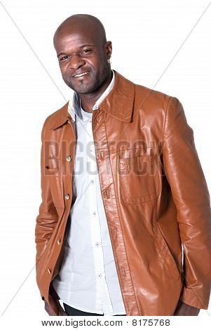 Handsome Black Man With Leather Jacket Isolated On White Background