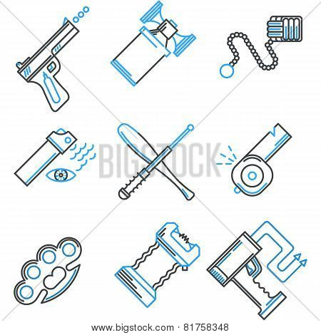 Flat line icons vector collection of self-defense