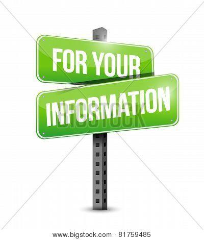 For Your Information Road Sign Illustration Design