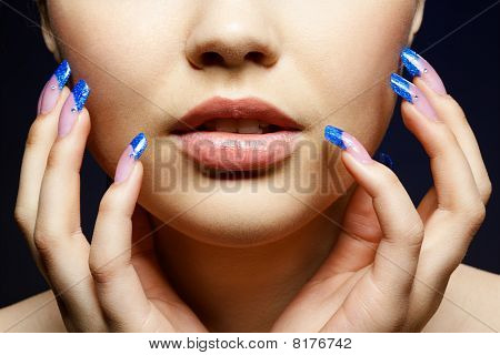 Girl With Blue Manicure