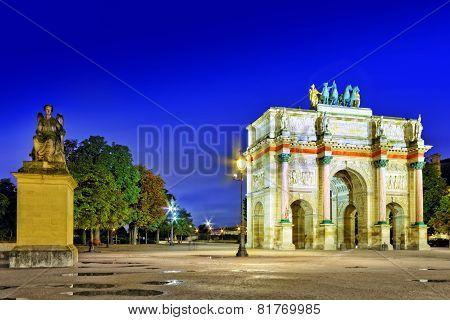 Arc De Triomphe In The Square Karruzel (jardin Des Tuileries) . Paris. France.