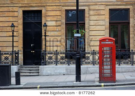Red Phone Booths In Central London. Uk.