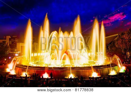 The famous Montjuic Fountain in Barcelona.Spain Catalonia poster