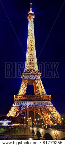 Paris - September 18: Light Performance Show On September 18, 2013 In Paris. The Eiffel Tower Stands