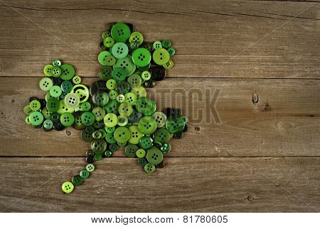 St Patricks Day shamrock on wood