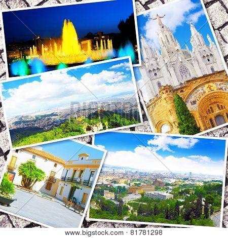 BARCELONA, SPAIN - SEPT  02, 2014: Beautiful collage of the urban view Barcelona, Catalonia.The most popular city in the Mediterranean resort in Spain. September 02, 2014 in Barcelona, Spain. poster