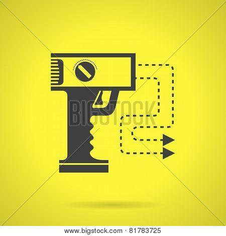 Black stun gun flat vector icon