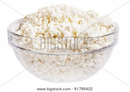Fresh Cottage Cheese (curd) In Glass Bow, Isolated On White Background .