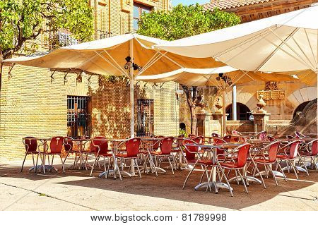 Outdoor view in one of cozy cafe.Barcelona Catalonia Spain poster