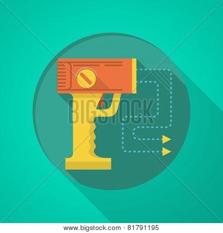 Stun gun flat color icon