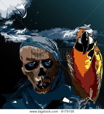 Bird and a skull eps