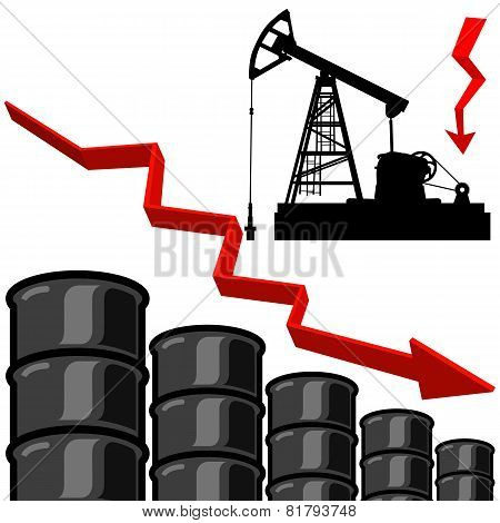 Oil barrel graph with red arrow pointing down. Vector illustrati