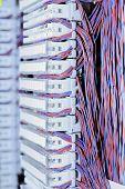 Telecommunication equipment E1 cross in a datacenter of mobile operator. poster