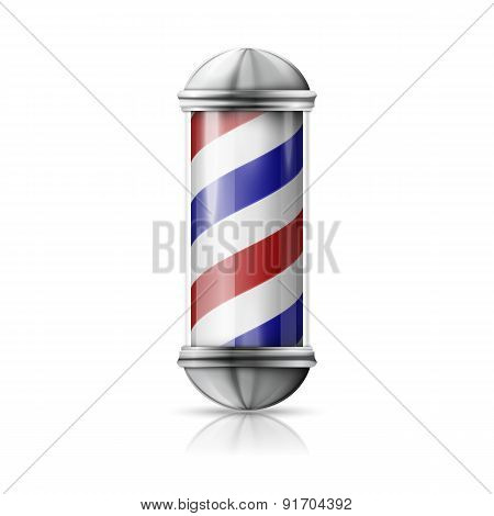 Realistic vector - old fashioned vintage silver and glass barber shop pole with red, blue, white str