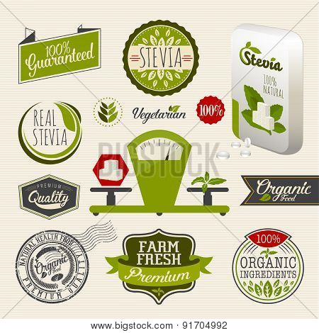 Organic food and stevia label logo Set
