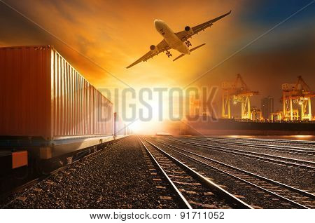 Industry Container Trainst Running On Railways Track And Commercial Ship In Port ,plane Air Cargo Fl