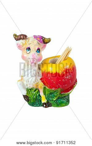 Decorative goat souvenir holder for toothpicks isolated on white background poster