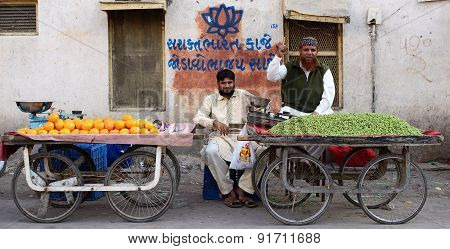 Street Sellers Of Fruits In India