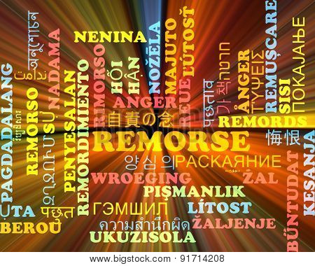 Background concept wordcloud multilanguage international many language illustration of remorse glowing light