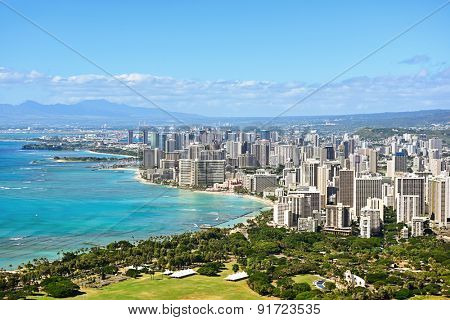 Honolulu and Waikiki beach on Oahu Hawaii. View from the famous Diamond Head hike from Diamond Head State Monument and park, Oahu, Hawaii, USA.