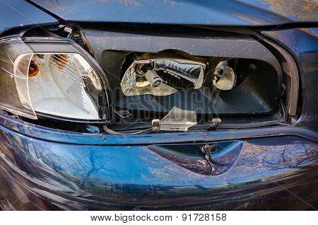 Broken front Car  Light Closeup