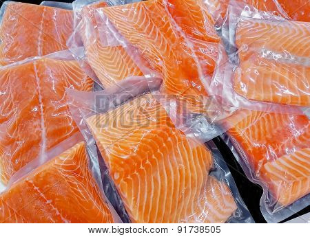 Fresh salmon in packing