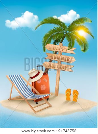 Beach with a palm tree, a direction sign and a beach chair. Summer vacation concept background. Vector.