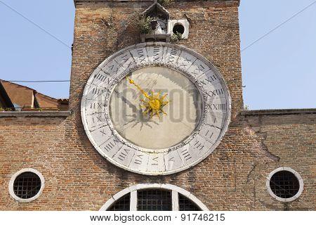 Antique Clock Of San Giacomo Di Rialto Church Near Rialto. San Giacomo Di Rialto Is A Church In The