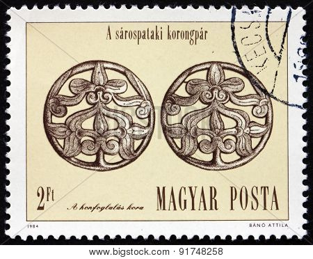 Postage Stamp Hungary 1984 Silver Disc Hair Ornaments